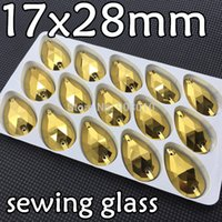 sewing box - High Quality box x28mm Teardrop Sew On Rhinestones Gold Hematite Color Droplet Sewing Glass Crystals Dress Making