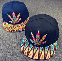 acrylic leaf - New Snapback Hats Hemp Leaf Bone Snap Back Gorras Colorful Men Hip Hop Cap Sport adjustable Baseball Caps for men women