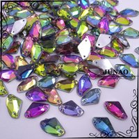 ax clothing - 9 mm Ax Shape Rainbow Rhinestone Sew On Fancy Acrylic Flat Back Holes Strass Crystal Stones For Dress Clothing Crafts pc