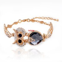 Wholesale Christmas Gift Gold Silver Plated Owl Bracelets For Women Crystal Bracelets Bangles Vintage Jewelry Pulseira SBR140208