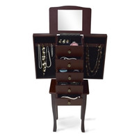Wholesale Brown Wooden Free Standing Drawers Jewelry Chest Armoire Cabinet Storage with Flip top Mirror Rings Bracelets Necklaces