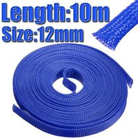 Wholesale 12mm M inch PET Braided Expandable Auto Wire Cable Gland Sleeves Sleeving High Density Sheathing Blue