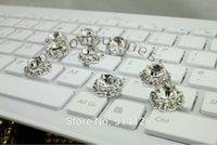al por mayor prendas de vestir botones-Los Rhinestones de plata 30PCS abotonan el botón decorativo cristalino de Flatback para los accesorios del pelo de la ropa