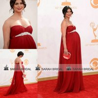 Wholesale Newest Morena Baccarin The th Emmy Awards Red Carpet Celebrity Dresses Red Chiffon Sweetheart Maternity Backless Evening Pageant Gown