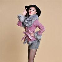 leather and fur garment - Fur Story B Real Leather Coat overcoat with fox fur silver fox collar and trim jacket outwear garment winter women s