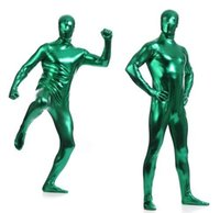 Wholesale Full Body Bright Lycra Spandex Zentai Skin Suit Costume Party Tight Skinsuit Gluing All Suit Zipper Back