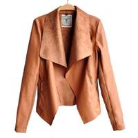 Wholesale New fashion Long Sleeve PU Leather Jacket Faux Turn Down Collor Leather Jackets Women Slim Coats Plus Size Feminino S XL