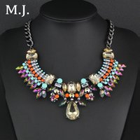 Cheap Fashion Necklace For Women 2015 Luxury Brand Highest Quality Rhinestone Gold Statement Necklace Lady Choker Costume Jewelry