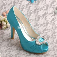 aqua dress shoes - Bride Collections Aqua Blue Peep Toe Shoes Wedding High Heels Women Dropshipping