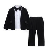 baby pants blazer - 2016 baby kids outfits Suit set BLAZERS shirt pants bow tie infant gentleman outfits Toddler formal set suits boy flowers boys children