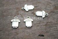 Cheap 40pcs--Baby clothes Charms, Antique Tibetan silver Baby romper charm pendants 17x12mm