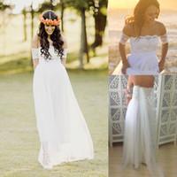 Cheap Wholesale 2014 Lace Wedding Dresses Boho Half Sleeve Off Shoulder Wedding Gowns Chiffon Bridal Dress Beach Casual Bridal Gown Free Shipping