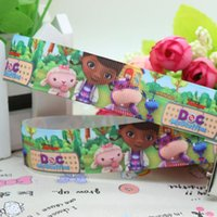Wholesale 7 quot mm Cartoon Garden Cute Doc Mcstuffins Printed Grosgrain Ribbon for Bows DIY Craft Decos Sewing yards