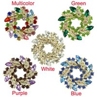 Wholesale Delicate Colors Women Lady Accessories Crystal Circle Flower Interspersion Breastpin Wedding Brooch Pins Best Gift