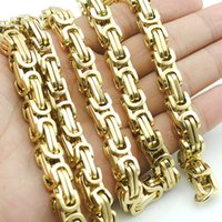 Wholesale Promotion Men s Necklaces Gold Chain Link Necklace Stainless Steel mm Width Byzantine High Quality KN004