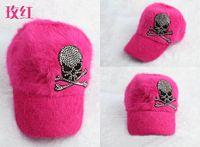 Wholesale The factory price Ms female baseball cap tide male rabbit fur cap of autumn winters warm skeleton set auger hat