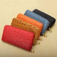 Wholesale New Women Wallets Ostrich Grain Long Design Purses Leather Multi Card Position Lady Zipper Wallet Phone Bag Fashionable
