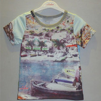 Verano 2015 de Europa y América Chicos Modelos Zona Costera Estilo Árboles de coco y Barcos Impreso T-shirt