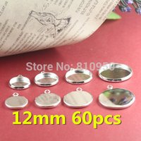 Wholesale 60pcs mm Brass Silver Plated Photo Blank Single Pendant Cameo Cabochon Base setting Findings Accessory