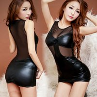 Wholesale Sexy policewoman sexy underwear transparent gauze temptation to not open file Cars nightclub tight leather skirt