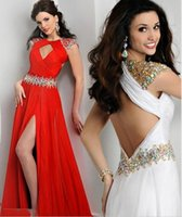 flowing prom gowns - New Stylish Flow Chiffon Prom Dresses Sexy Crew Neck Sheer Cap Sleeves Backless Crystals Beads Formal Evening Party Gowns BO7450