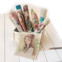 Wholesale 20cm CM mori girl series Hand drawing style Hand dyed painting Digital Print cloth Thick linen and cotton Fabric DIY quilt