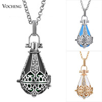 ball cage - VOCHENG Caller Harmony Necklace Colors Plated Cage Angel Ball Jewelry Hollow out Maternity Pendant for Women VA