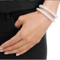 Wholesale New Nice Stardust Crystal Wrap Mesh Magnetic Clasp Double Bracelet L10340