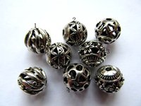beaded earring findings - 8 mm bulk vitiage basketball Bail filigree finding metal round ball charm earring jewelry finding beaded