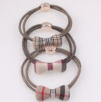 Wholesale Fashion childrem s hair accessories made by hand plaid hair rubber bands student s hair ring elastic hair rop