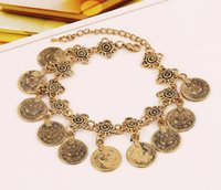 asian heavy metal - European and American retro coin tassel bracelet trend suits heavy metal bracelet exaggerated punk