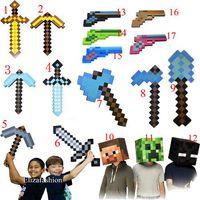 axe head - Minecraft Foam Diamond Sword Steve Creeper Box Heads Minecraft Piackaxe Axe Sword Action Figure Toys for Cosplay Styles