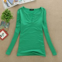 Cheap Fashion Women Clothing Cotton Material V-Neck Sexy Womens Shirts Long Sleeve Spring T Shirts For Womens Hot Sale LDB1004