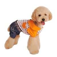 Wholesale Denim Heart Jean Dog Clothes Pet Apparel Jumpsuit Pocket Button Puppy Pets Romper Playsuits Products