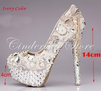 Wholesale 2015 Luxurious Bowtie Rhinestone Ultra High Heel Shoes Pearl Crystals Wedding Dress Shoes Beautiful Shoes for Bride