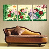 bamboo plants pictures - 3 Pieces no frame on Canvas Prints Green plants peony Bamboo Lotus insect Daisy Chrysanthemum tea Rape flower Natural scenery