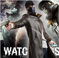 Wholesale Watch Dogs Cosplay Aiden Pearce Costume PU Leather Coat Cap Scarf Face Mask One Set Cosplay Game Costume