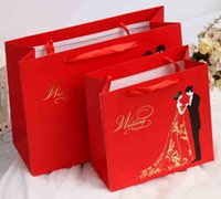 small gift boxes - Red Wedding Favor Holders Paper Gift Bags for Wedding Candy Bags Wedding Boxes Gift Paper Bags Big Small Size Wedding Party Gift Bag
