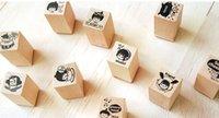 Wholesale stamps carton stamp mini diary DIY wood material stamp inkpad included DIY album stamp ship free