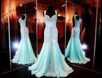 Cheap 2015 Cheap Aqua Sweetheart Neckline Mermaid Long Prom Dresses Sexy Open Back Crystal Pageant Gowns Beads Chiffon Dresses Party Evening