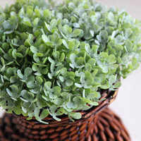 Wholesale 20pcs Artificial Plastic Small Four Leaf Clover Leaves Green pink Fake Rustic Grass Bush Home Decorative Plants