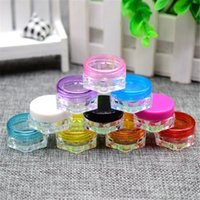 Wholesale Lily g Empty Cream Jar Clear Hexagon Bottom Box With Colorful Cap Cosmetic Sample Bottle Refillable Makeup Container
