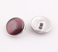 Wholesale Aluminum Resin Snap Buttons Fit Bracelet Necklace Ring Round Mixed Simulated Cat Eye Snap Button BE332