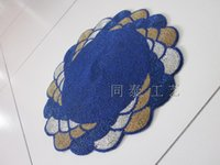 Wholesale round blue gold silver handmade glass beads placemat beaded table runner beaded shell placemat set decorative beaded table mat