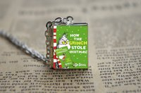 alloy books - 12pcs The Grinch Book Locket Necklace Silver tone