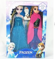 Wholesale Frozen Elsa Anna Olaf set Dolls with Long eyelashes cm inches pvc figures Dolls Movie Doll with Retail Box