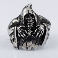 Wholesale Gothic Black Silver Grim Reaper Death Skull Mens Boys L Stainless Steel Ring