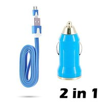 Wholesale 2 in DC V A USB Car Charger Auto Charging Adapter with Flat Micro USB Cable for s Plus Samsung Htc Sony iPad iPod Cell phone