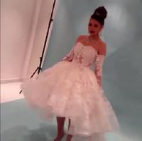Wholesale 2015 New Stunning Off Shoulder Lace Celebrity Dress Myriam Fares Evening Dress A line Applique Bead Hi lo Plus size Prom Party Gown