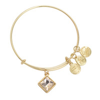 april charmed - Alex Ani April Birthstone Yellow Gold and Silver Plated Charm Bangles New Crystal Pendant of Months Brazaletes Pulseras Mujer AN33
